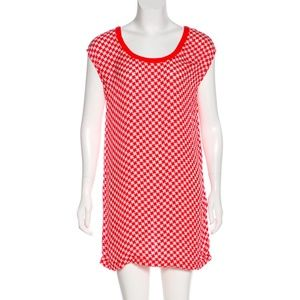 Joie 100% Silk Red Houndstooth Sheer Mini Dress